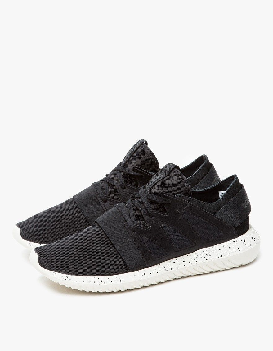 buy popular 26ff4 9eae9 Modern runners from Adidas. Black upper with White sole. Cage-style lace-up  front with flat cotton laces. Elastic strap across forefoot.