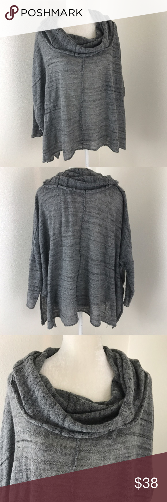 Free People Gray Knit Cowl Neck Batwing Sweater | Wool, Acrylics ...