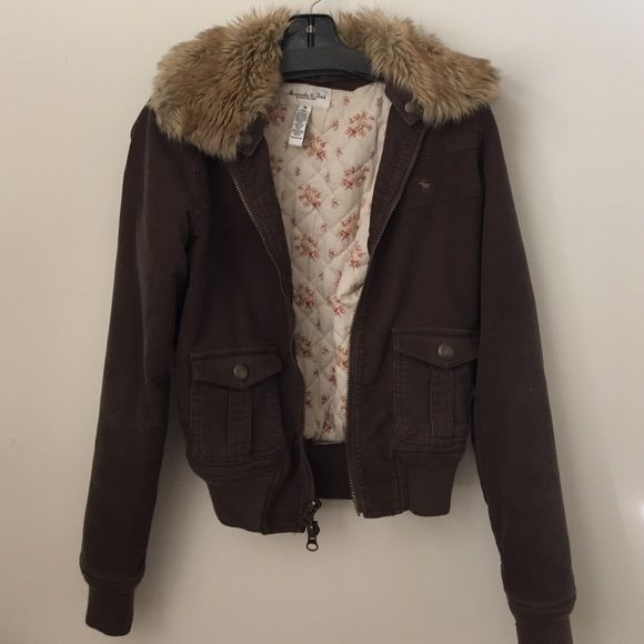Abercrombie and Fitch jacket with fur collar Used. Size medium. Abercrombie & Fitch Jackets & Coats