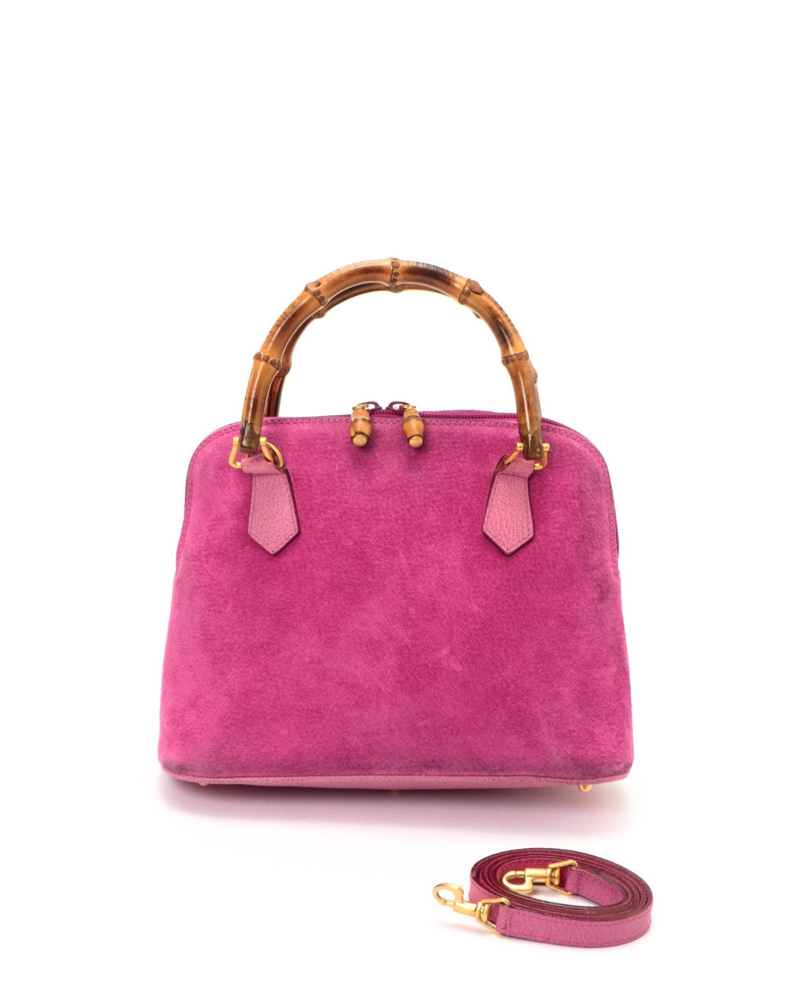 Gucci Pink Bamboo Two-Way Bag - Vintage