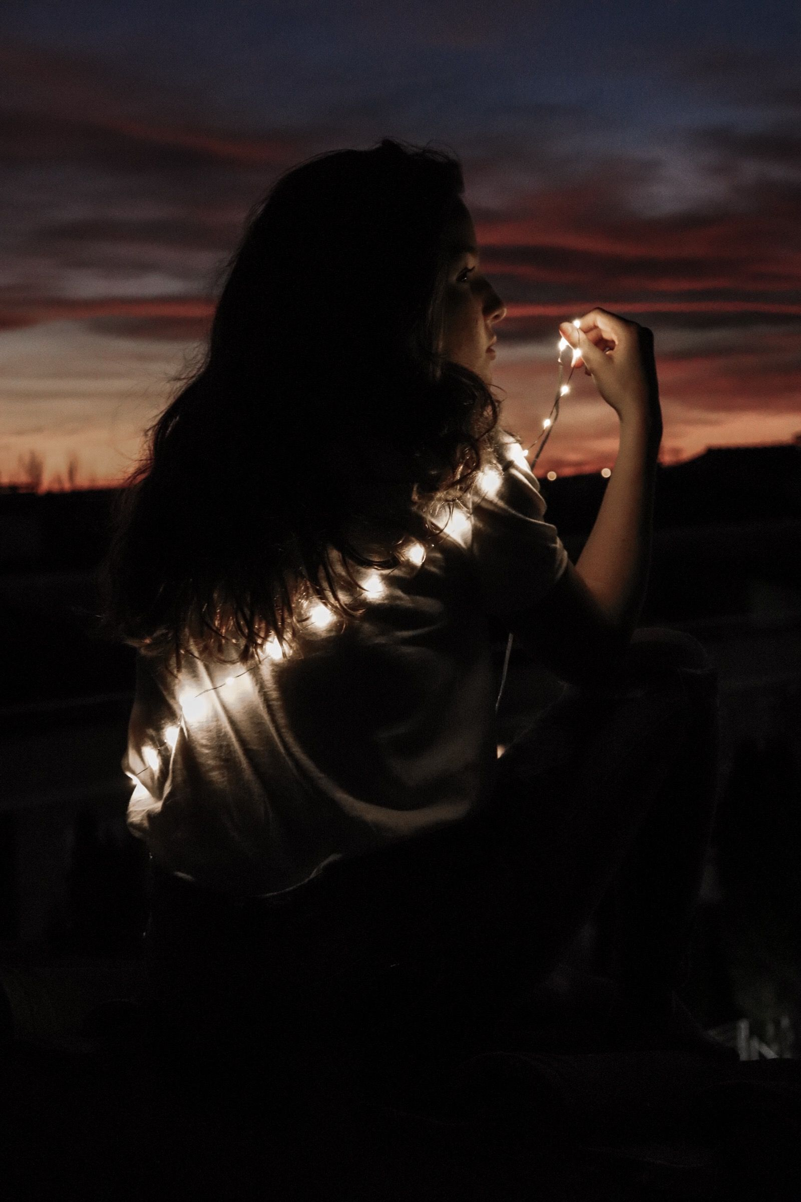 Christmas lights tumblr girl | Photography | Pinterest for Night Light Tumblr  568zmd