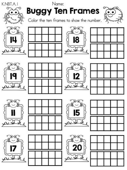 Buggy Ten Frames Numbers Part Of The Spring Kindergarten Math Worksheets Common Core Aligned
