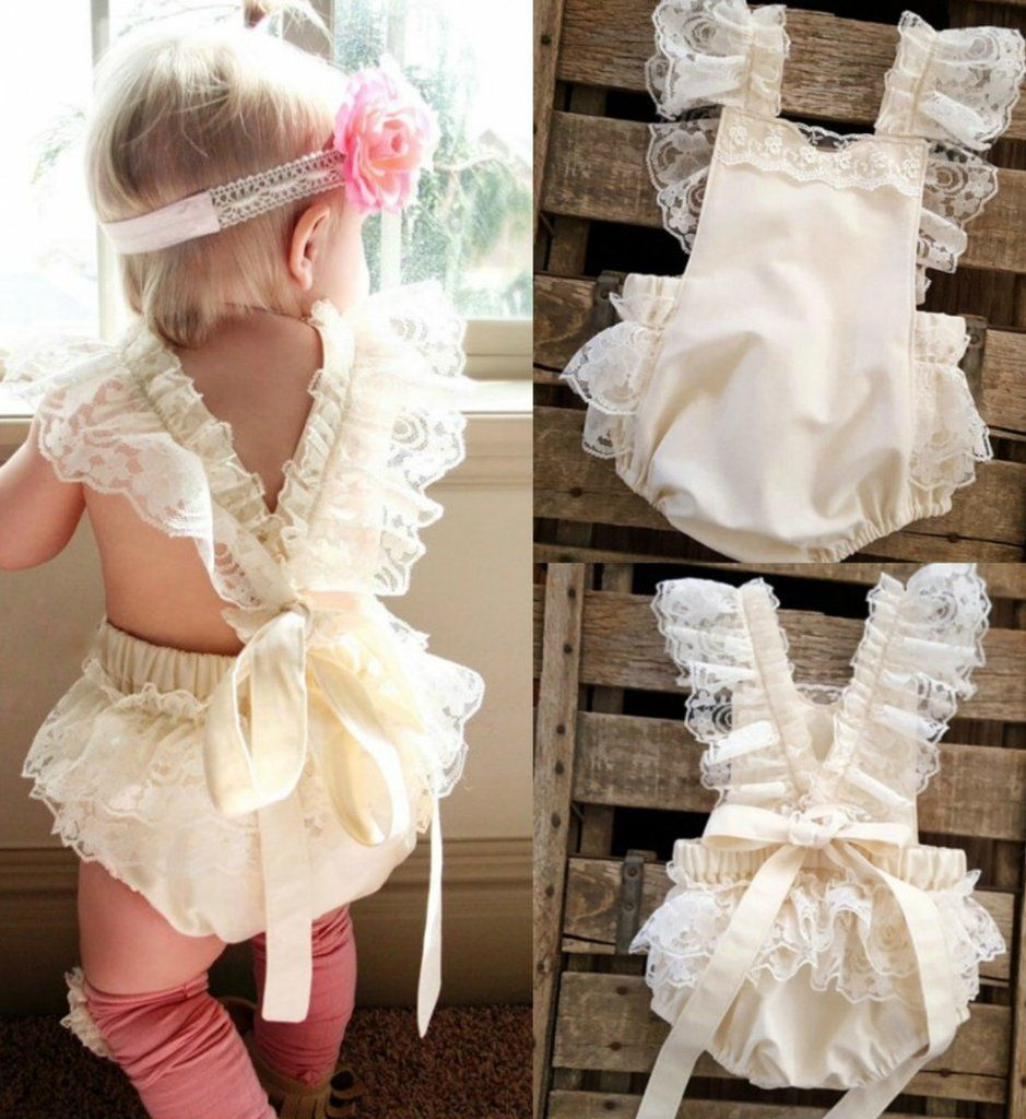 9b22f375d0b Lace Ruffle Romper-Champagne Ruffles Vintage Chic Lace Baby Girl Romper  This cute ruffle romper