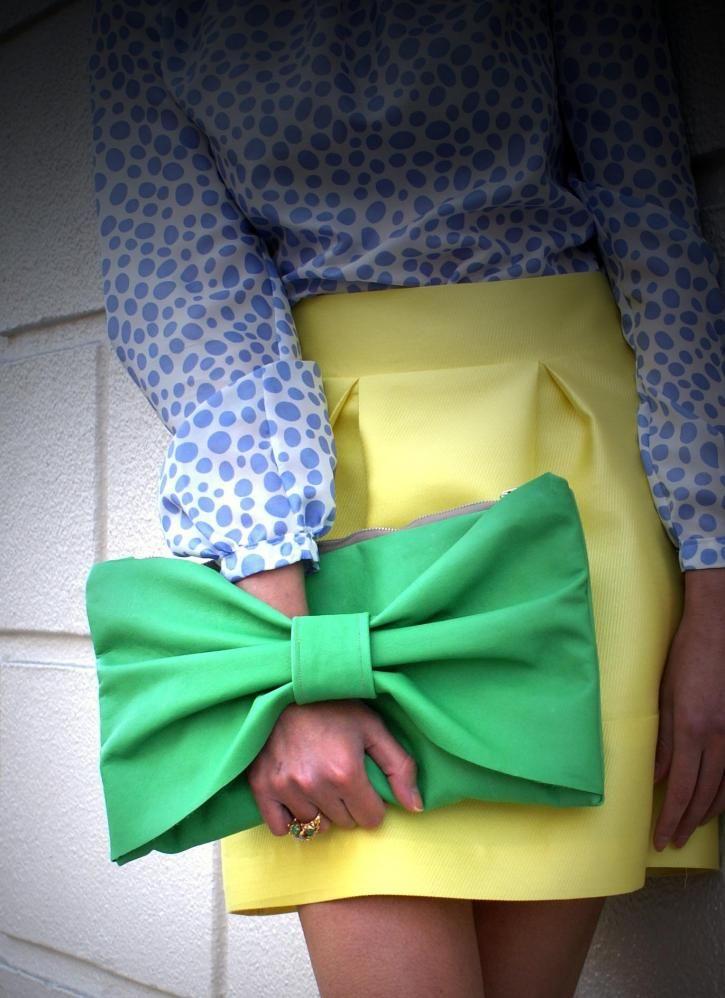 Kelly Green Leather Bow Clutch, Bag, Bow Clutch, Chic $130.00