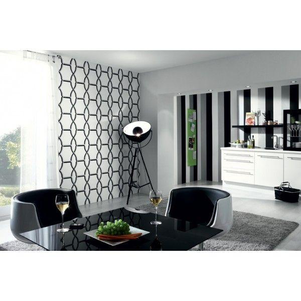 papier peint noir et blanc motifs claustra noir et. Black Bedroom Furniture Sets. Home Design Ideas
