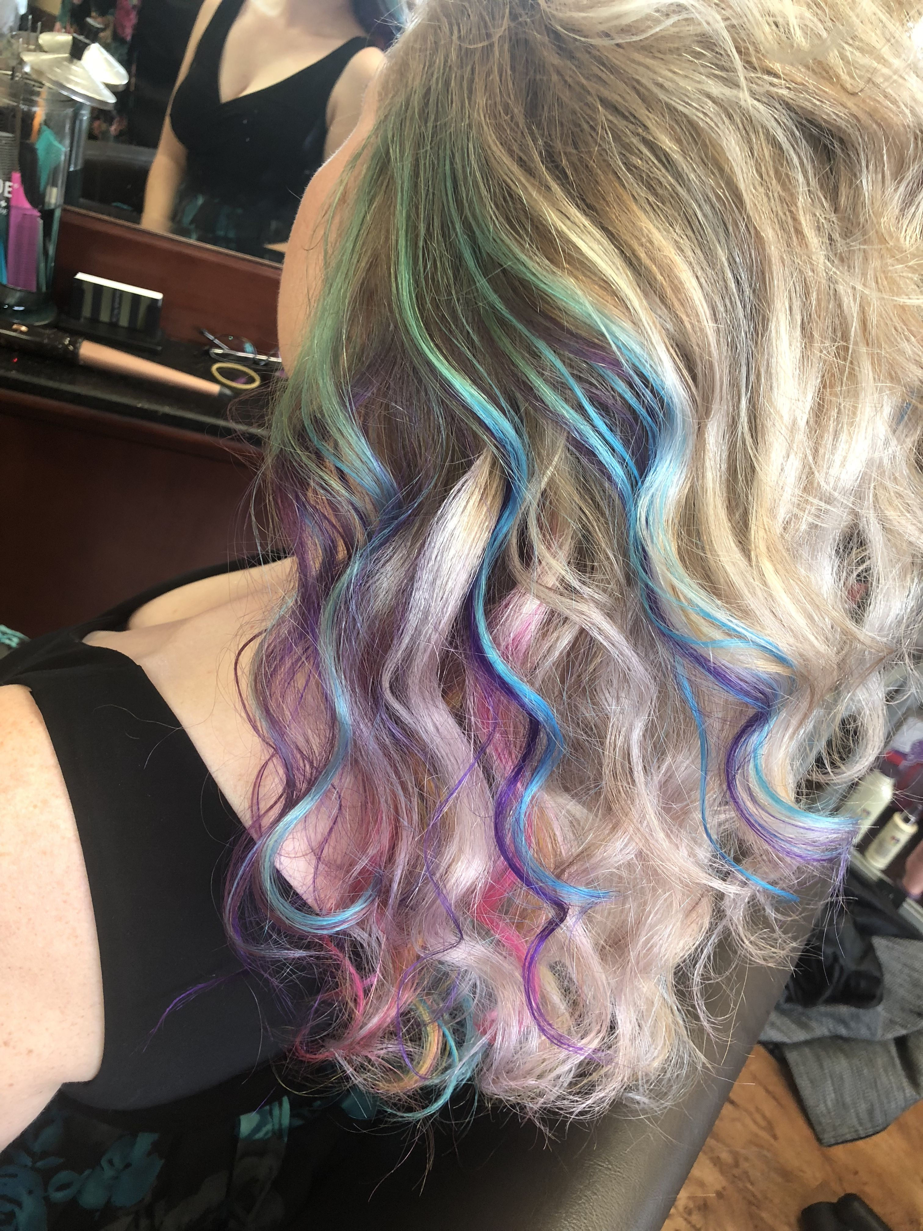 Rainbow Peekaboo Blonde Hair Using Matrix And Pravana Vivids Hair Styles Long Hair Styles Hair