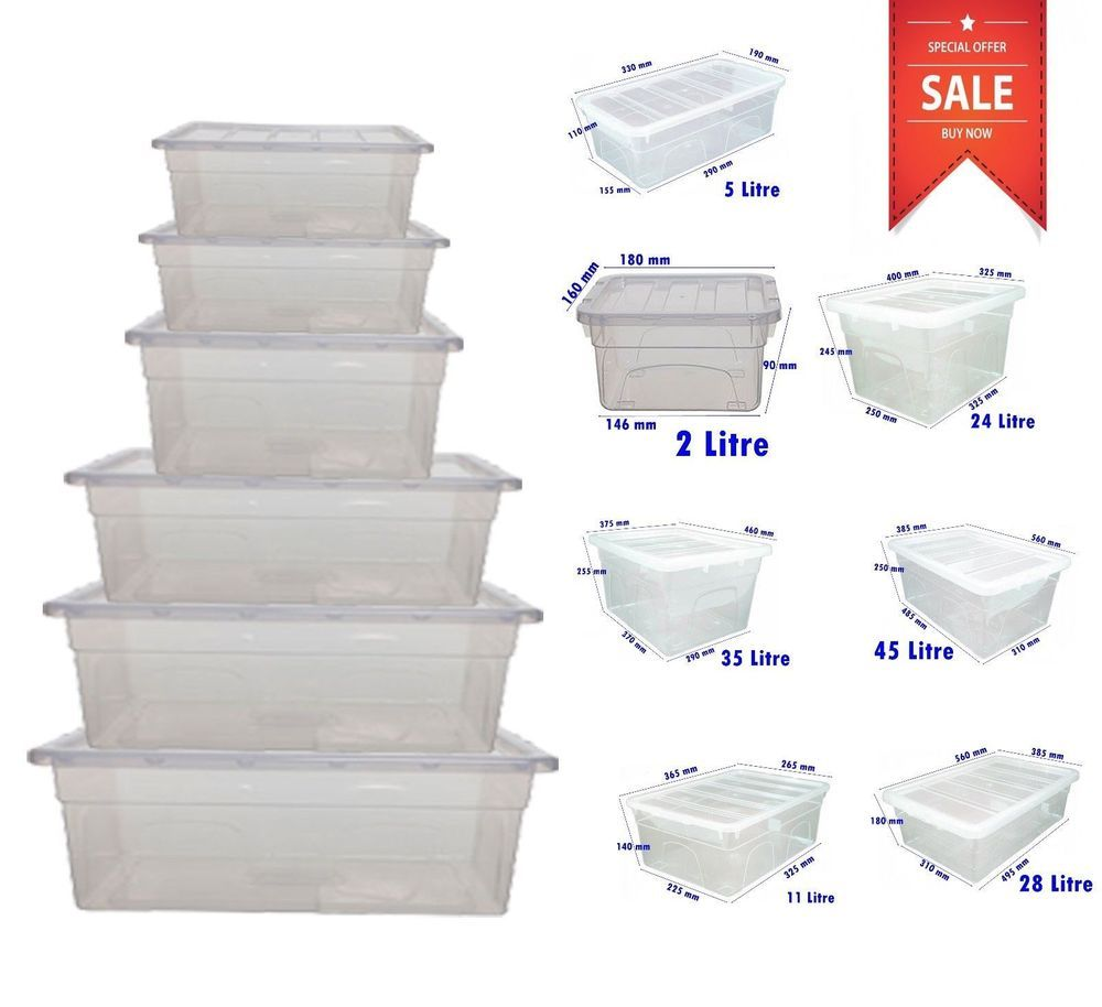 Merveilleux Plastic Storage Boxes Large Clear Box Lidded Stackable Chest Container UK  Made AMAZING PRICE / BEST