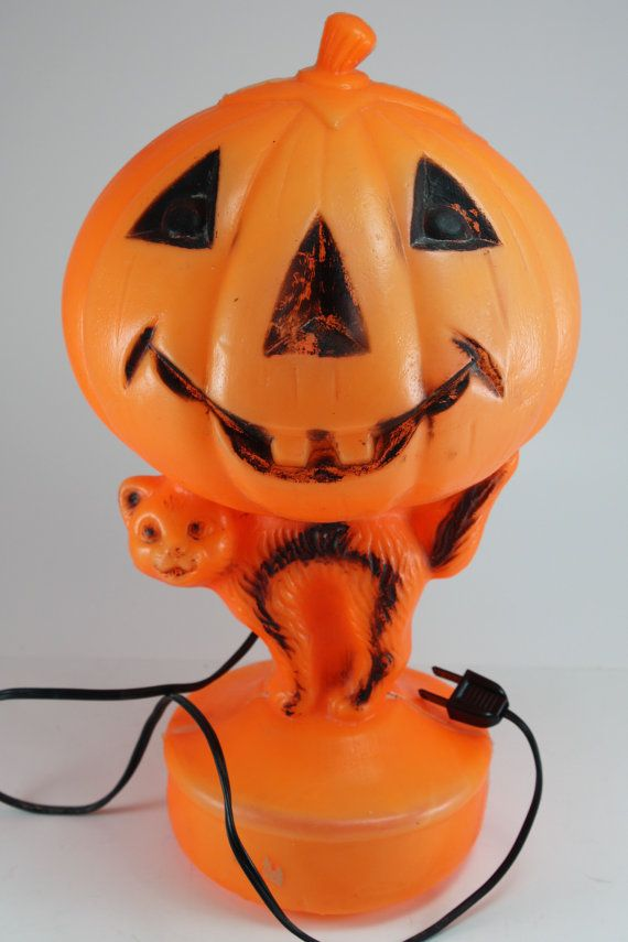 jack o lantern and cat halloween light decoration - Vintage Halloween Decorations For Sale