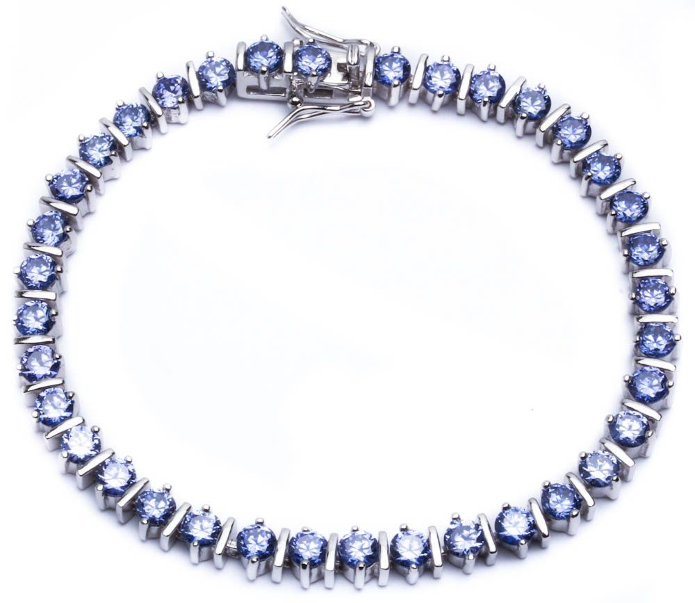 """15ct Round Simulated Tanzanite .925 Sterling Silver Bracelet 7.75"""". 7.75"""". 5.5mm. 925 Solid Sterling silver."""