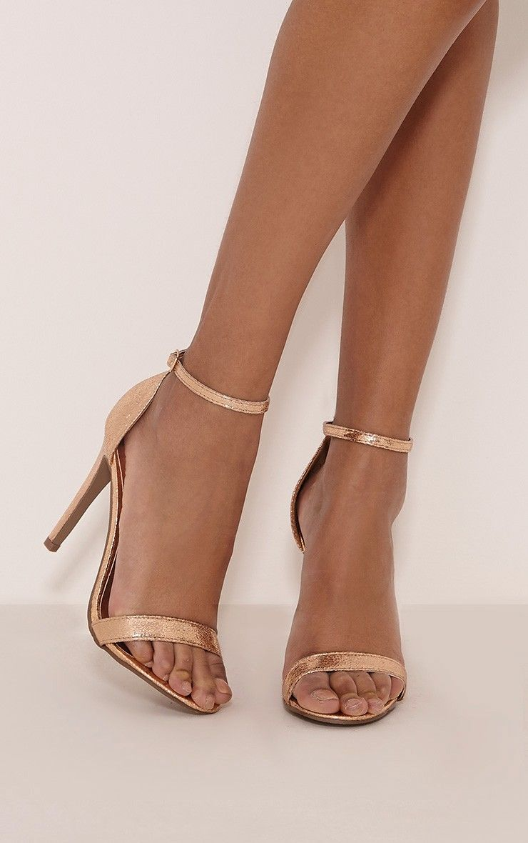 Clover Gold Metallic Heeled Strappy Sandal   PrettyLittleThing