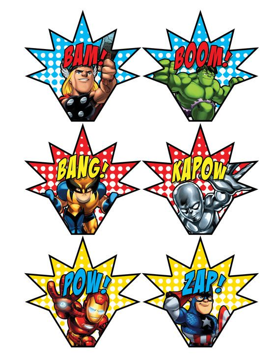 Super Squad Cupcake Toppers Wrappers Printables 6 50