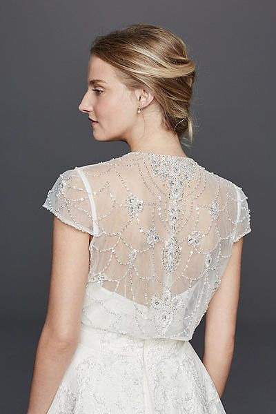 Beaded Jacket With Scroll Work On Back Davids Bridal Canada