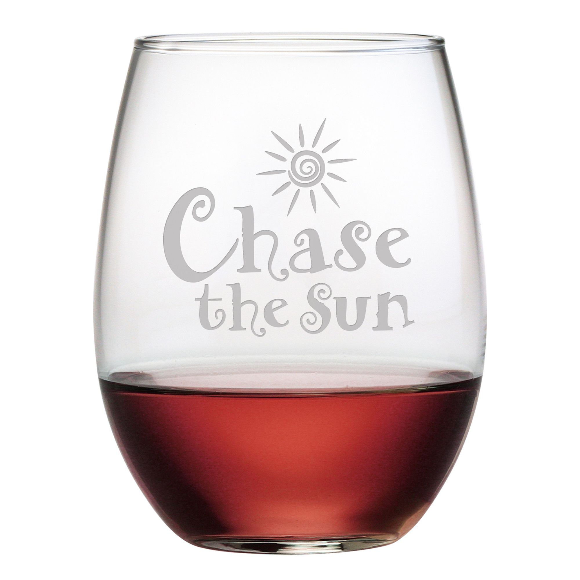 Chase The Sun Stemless Wine Glass Set Of 4 Wine Glass Glass Set Wine Glass Set