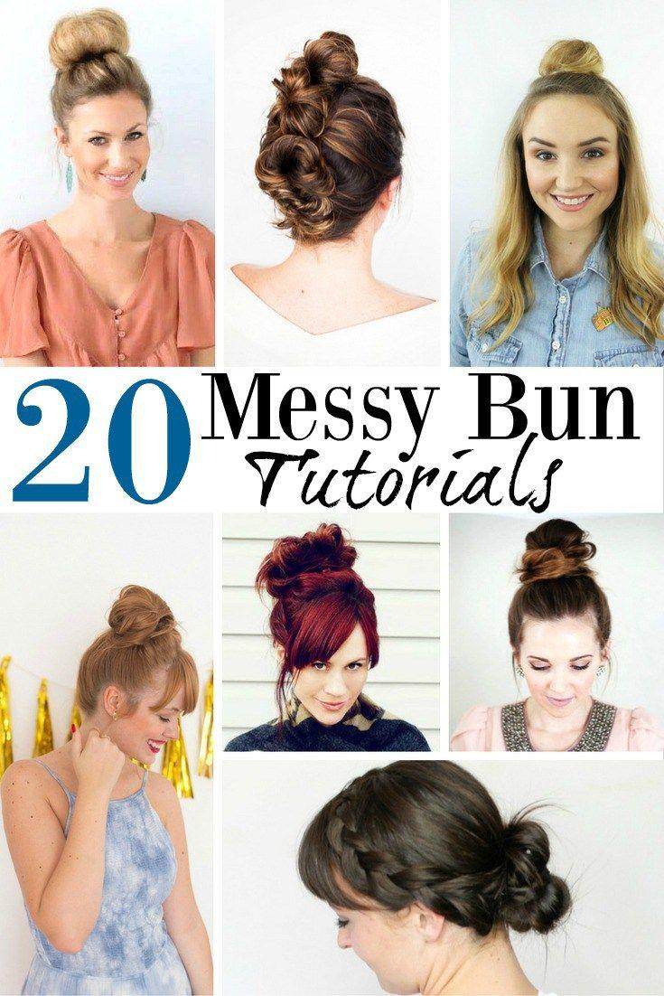 20 Easy Messy Bun Tutorials Messy Bun Tutorial Greasy Hair Hairstyles Hairstyles For Thin Hair