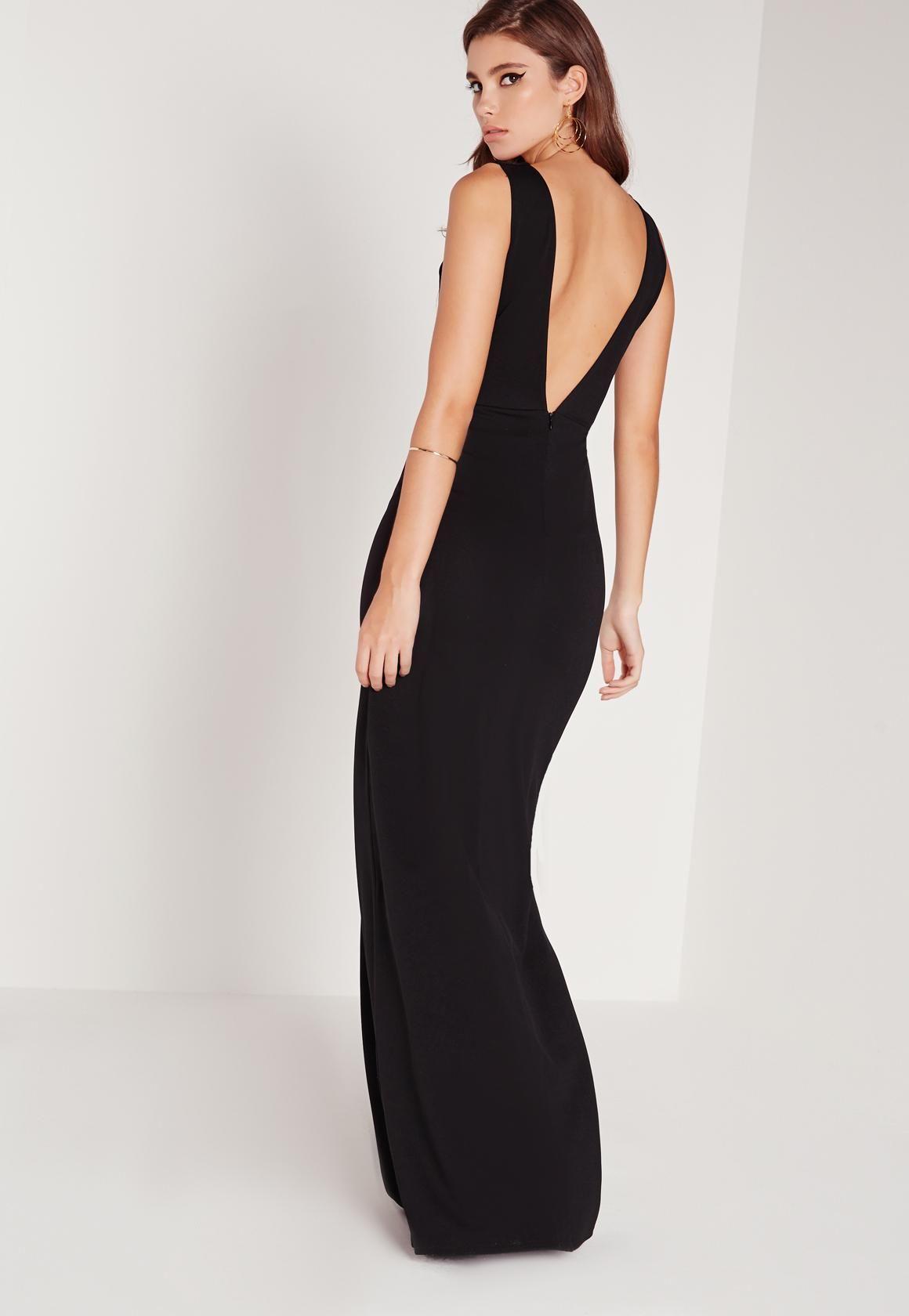 803b042e2d Missguided - Black Petite V-Neck Plunge Scuba Maxi Dress ...
