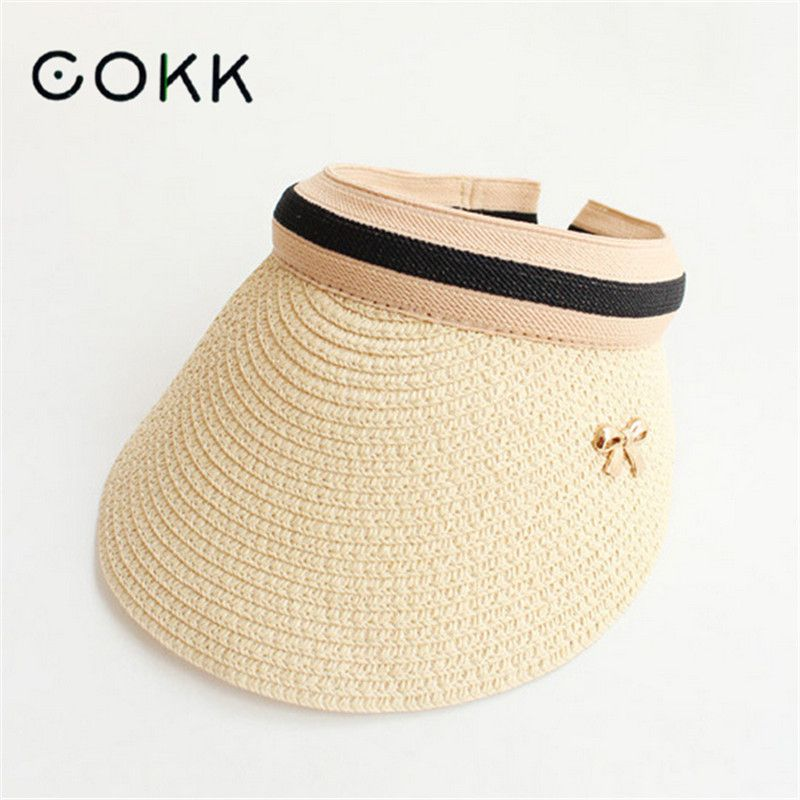 COKK Cute Bow Foldable Sun Hat Beach Large Wide Brim Straw Visor Hat Cap  Summer Hats 4289d6ff817d
