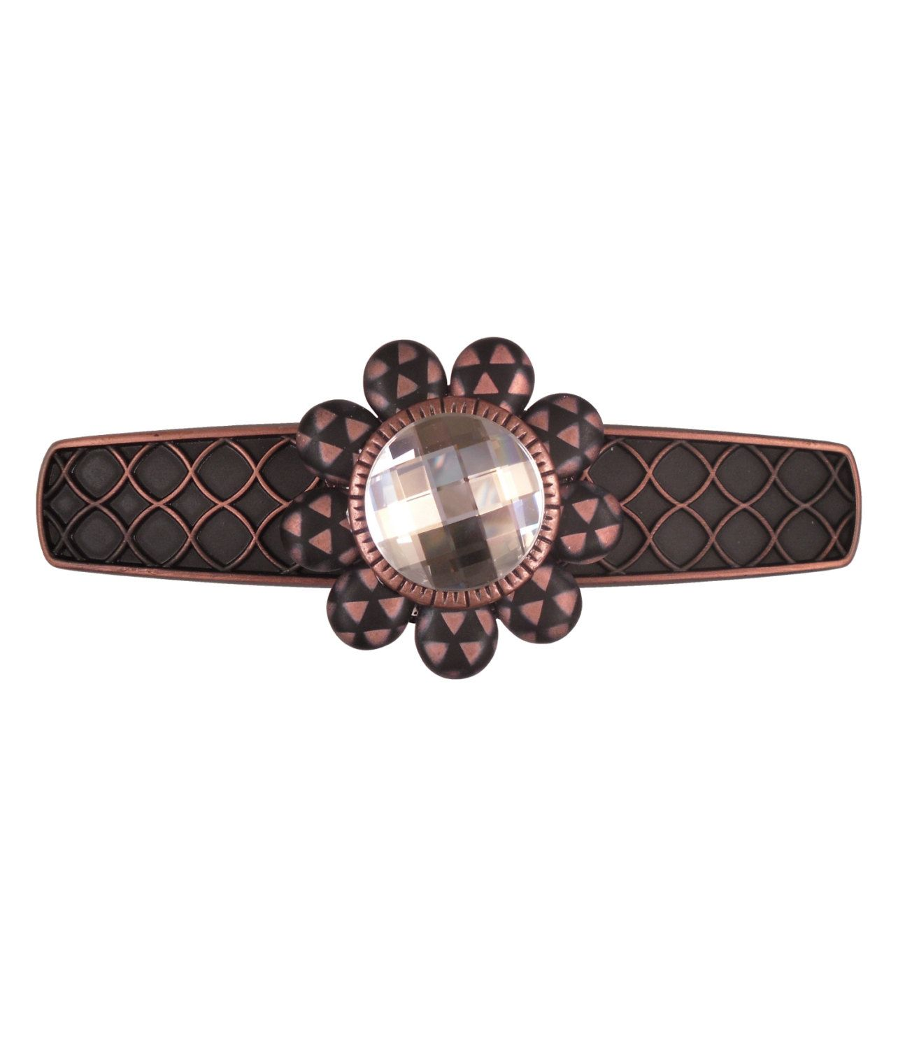 """Decorative Drawer Pull/Swarovski Crystal Door Handle/Art Deco Furniture Pull/Copper Pull/Unique Drawer Pull/Modern Kitchen Cabinet Pull/3"""" by ArtfulSparkle on Etsy"""
