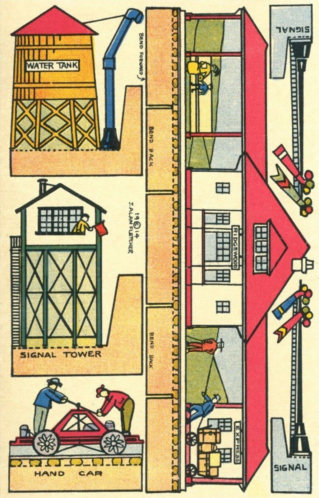 Railway Cardmodels Vintage Papercraft Train Station And
