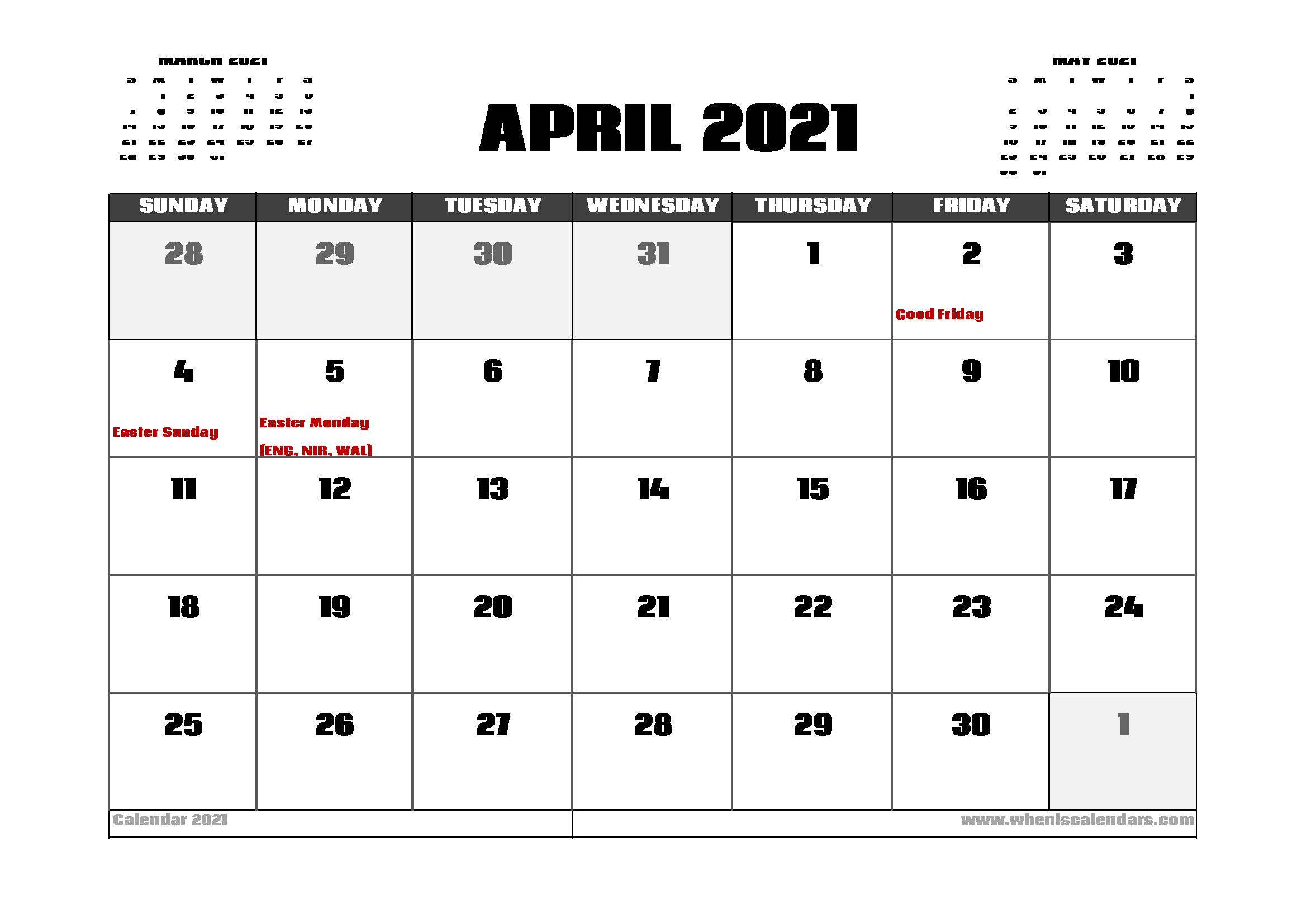 April 2021 Calendar With Holidays April 2021 Calendar UK with Holidays | Calendar printables