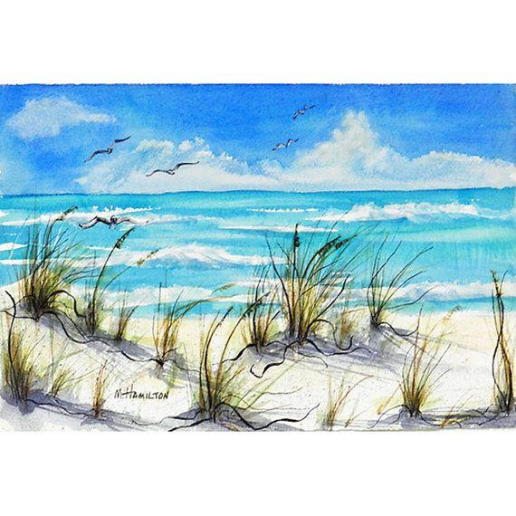 seascape watercolor painting beach painting coastal decor white