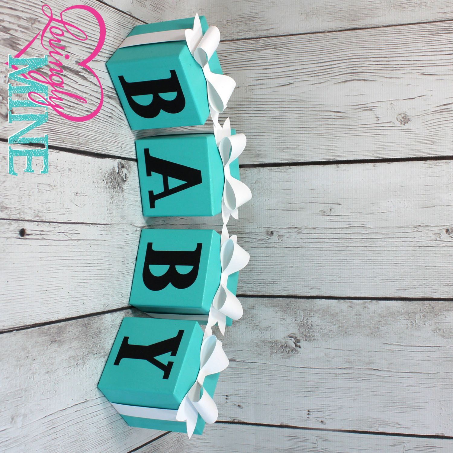 Baby Block Letters In Light Teal Aqua Robbins Egg Blue With White