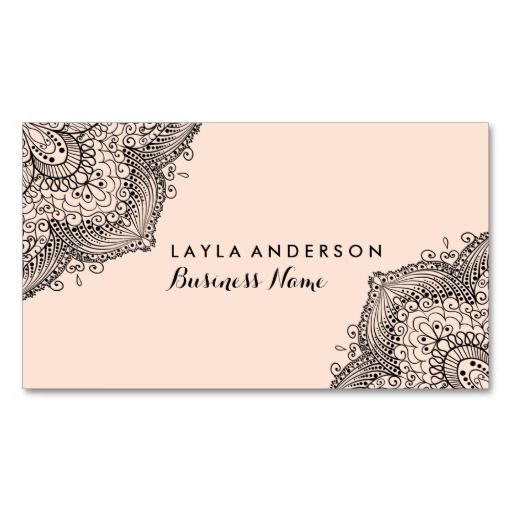 Pink Black Henna Design Business Cards Zazzle Com Vintage Business Cards Template Business Cards Creative Henna Designs