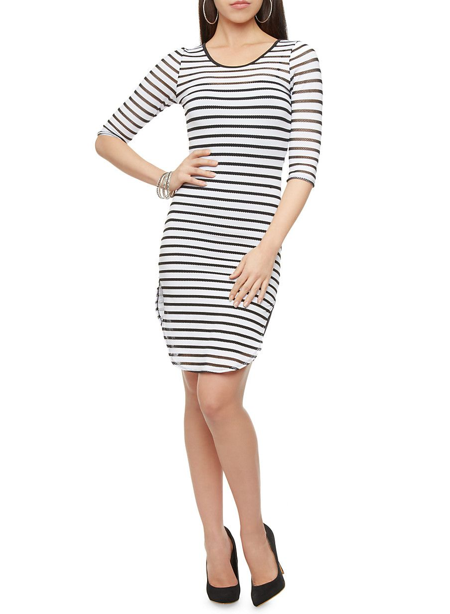 Rainbow Three-Quarter Sleeve Striped Mesh Bodycon Dress | Bring out a pinch of naughty with some netted accents in this sexy bodycon dress! This flattering mini dress features a netted mesh material aligned in a striped pattern throughout, a slim bodycon fit, three-quarter sleeves and a subtle scoop neck. Layer this over a sleeveless mini dress and platform pumps for an eye-catching look at your next night on the town.