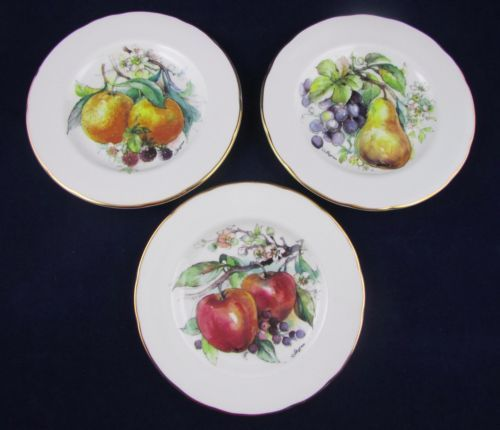 Crown Trent Canape Set of 3 Plates in Fruit Design Fine Bone China Gold Trimming | & Crown Trent Canape Set of 3 Plates in Fruit Design Fine Bone China ...