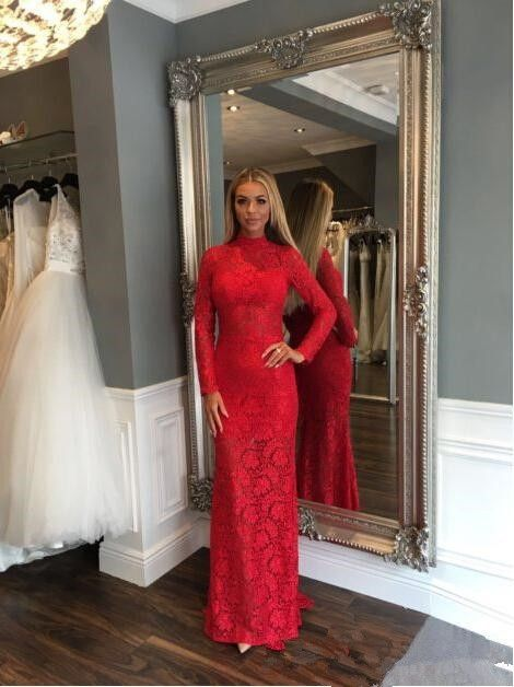 Lace High Neck Evening Dress Hot Sale Full | Prom dresses ...