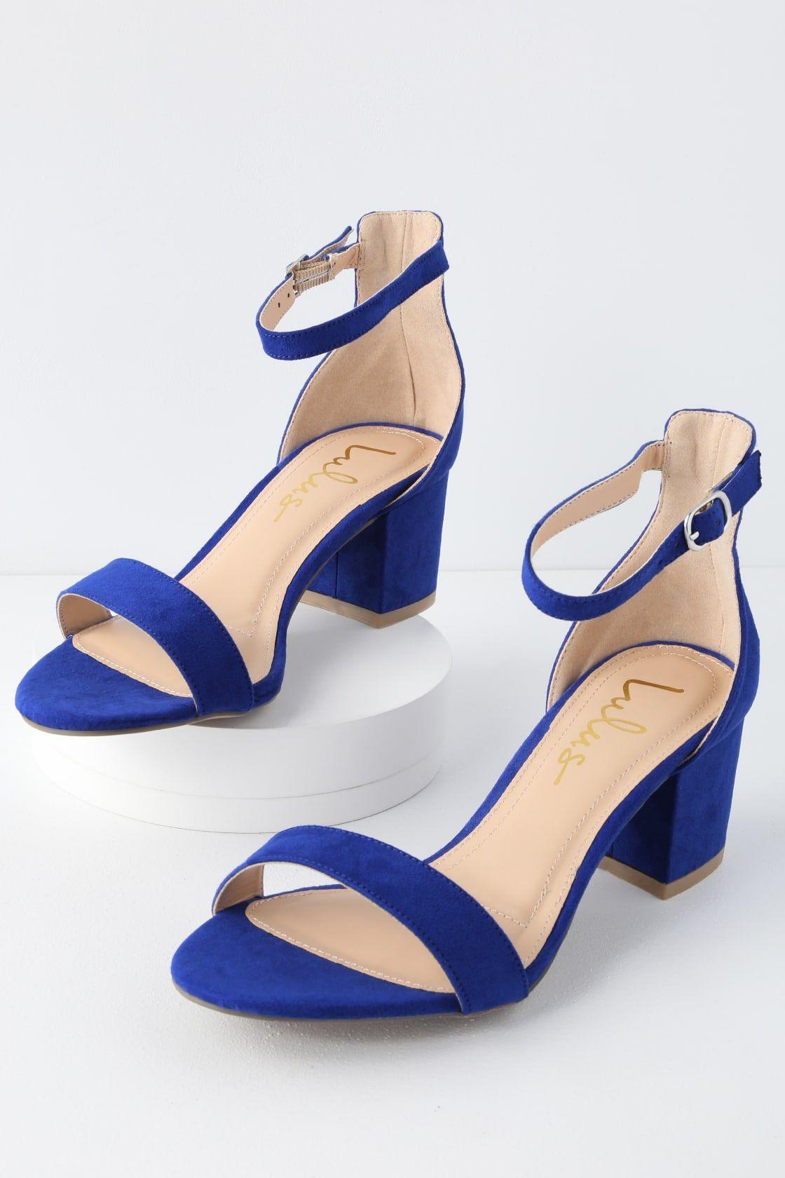 613057ae25 Harper Cobalt Blue Ankle Strap Heels in 2019   Blue shoes   Heels ...