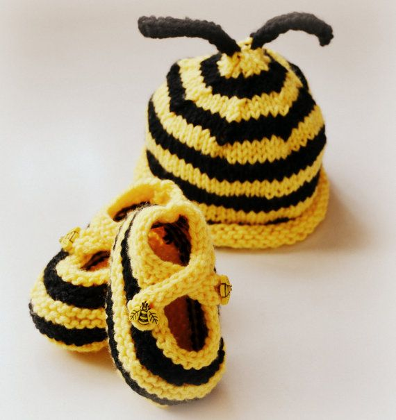 Bumble Bee Hat and Booties Set Photo Prop by KnitAndCrochet2009