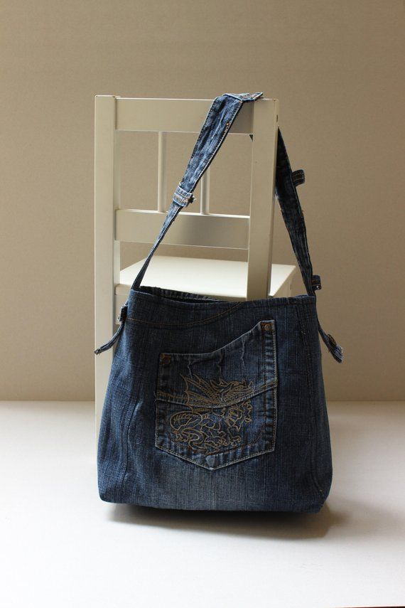 2f77a35ed8d Recycled jeans, Recycled denim bag, Recycle design, Hobo bag, Denim ...