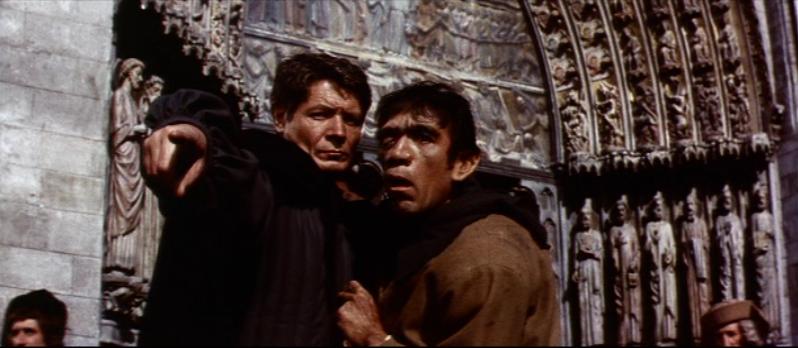 Quasimodo (Anthony Quinn) & Frollo (Alain Cuny), 1956 The