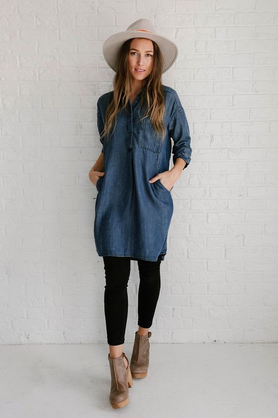 Trendy Denim Dress with Legging Fashion Looks for This Winter .