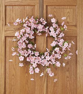 22  Blooming Pink Silk Cherry Blossom Flower Twig Wreath Home Floral Decor | eBay