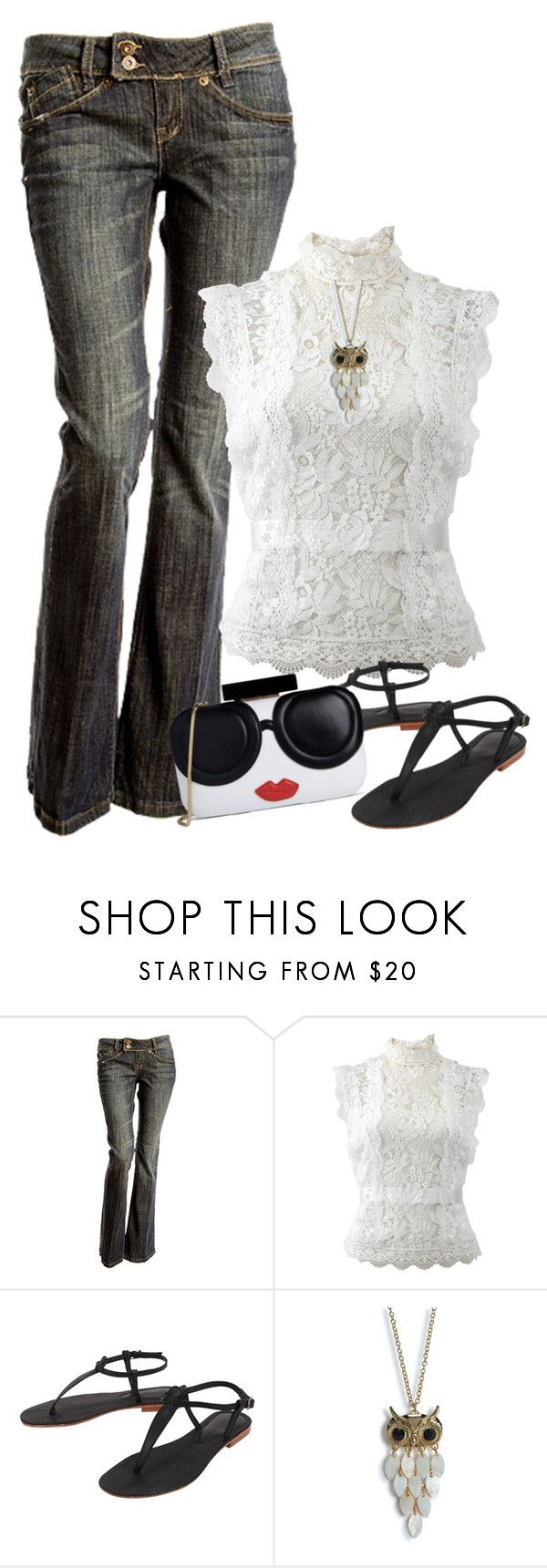 """jeans and sandals 2"" by shanasark ❤ liked on Polyvore featuring Oscar de la Renta, Cocobelle, Aéropostale and Alice + Olivia"