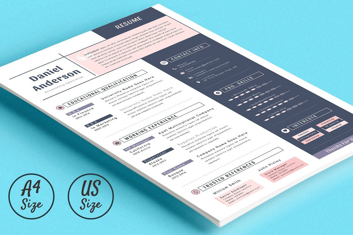Resume Cv with Ms Word & Apple Pages Creative Resume