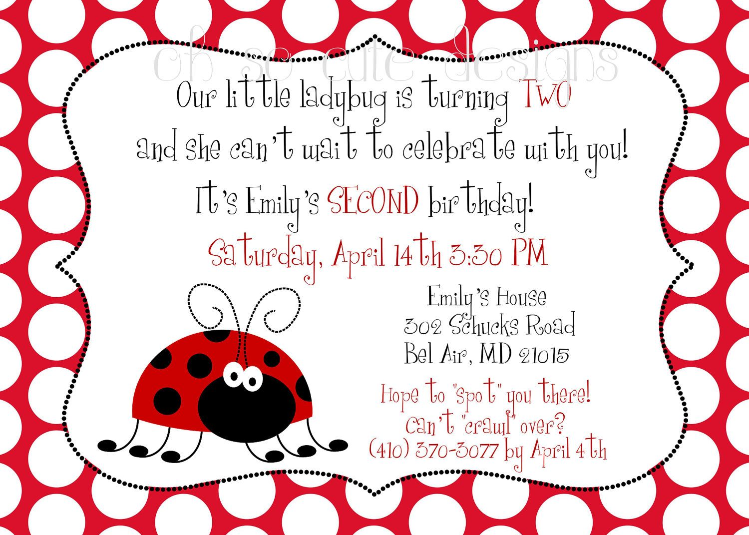 Like wording Ladybug 2nd birthday invitation 1200 via Etsy – 2nd Birthday Invite Wording