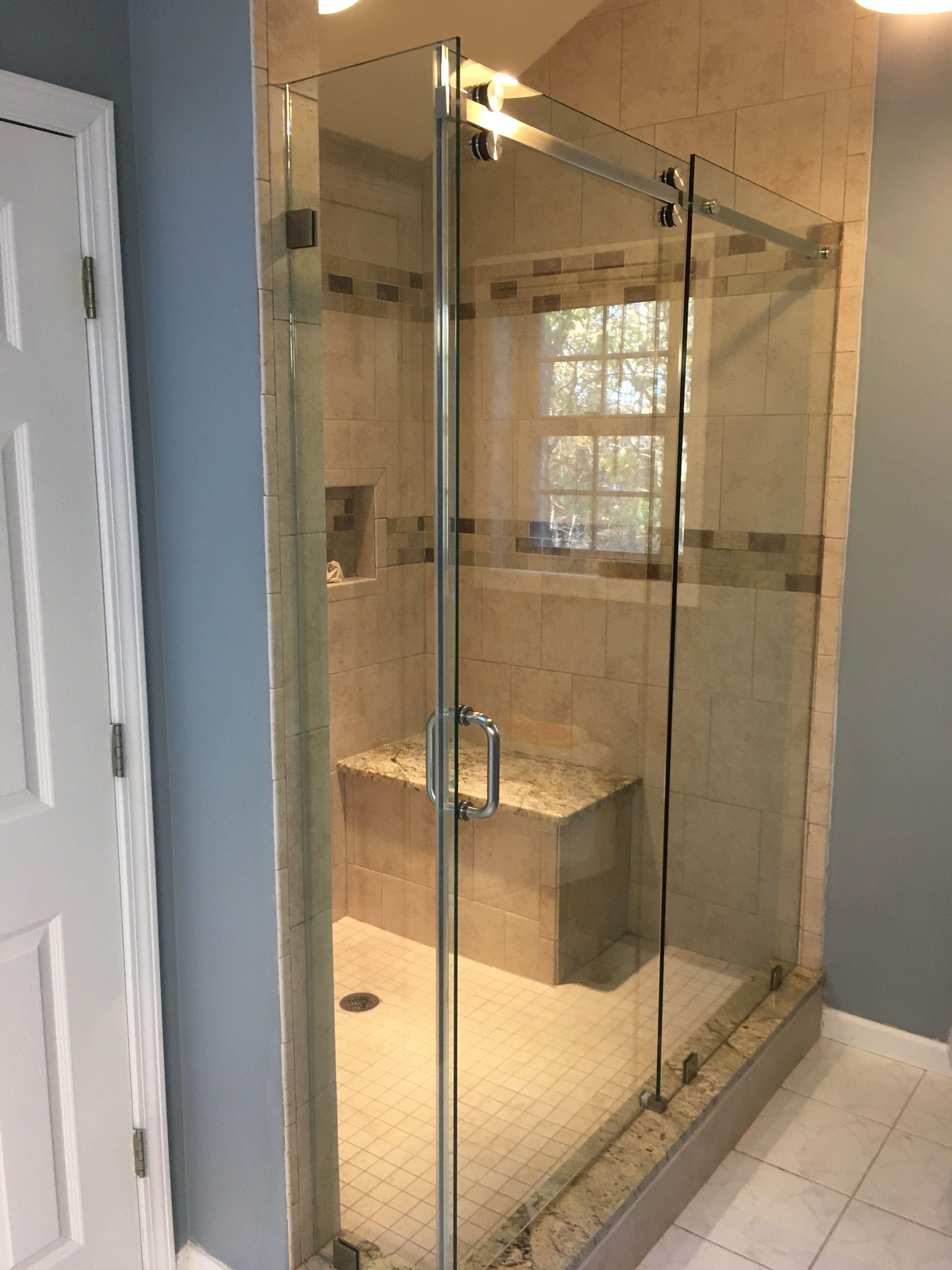 Serenity Shower Door Sliding Door Barn Slider Header Chrome 6 Inch Pull Return Panel Small Return Shower Doors Frameless Shower Doors Framed Shower Door