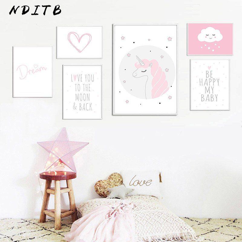 Baby Slaapkamer Te Koop.Goedkope Baby Girl Nursery Muur Canvas Schilderij Roze Eenhoorn