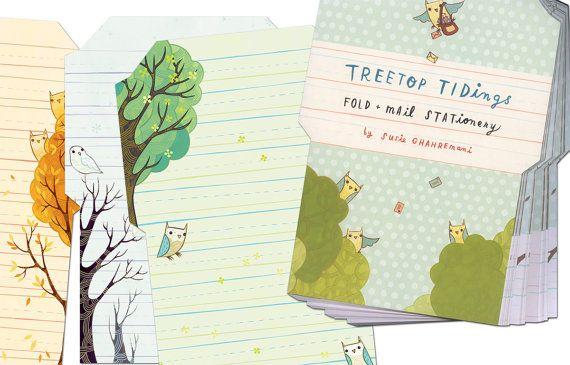 Owl Letter Set FoldMail Stationery By By Boygirlparty On Etsy