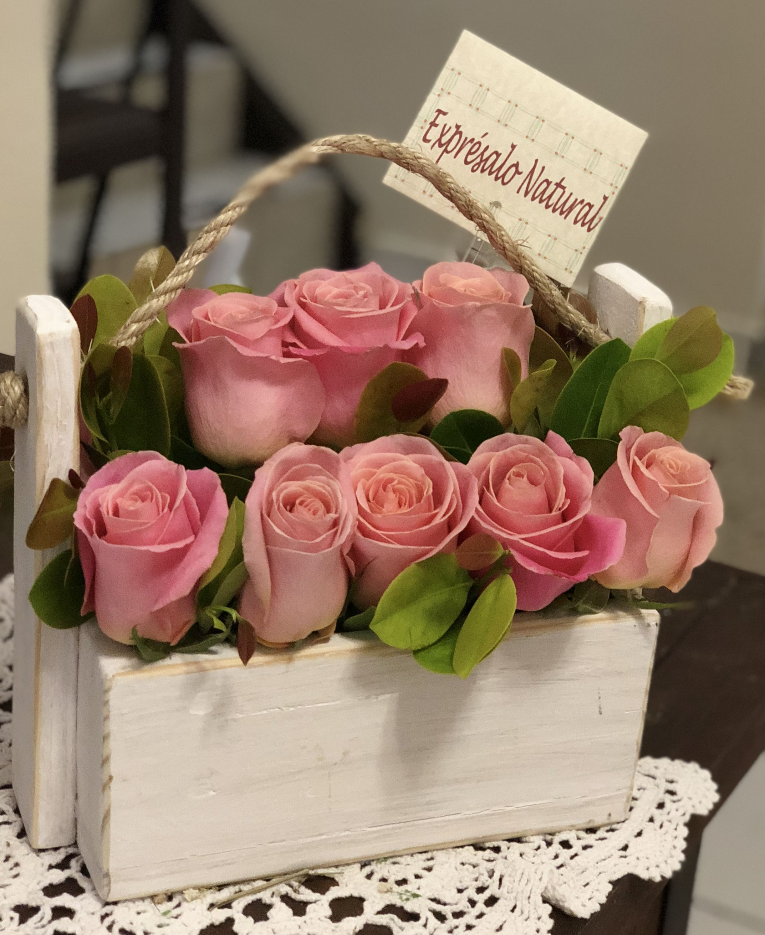 Only Roses In Rustic Box #Fiestaflowersplants&Gifts