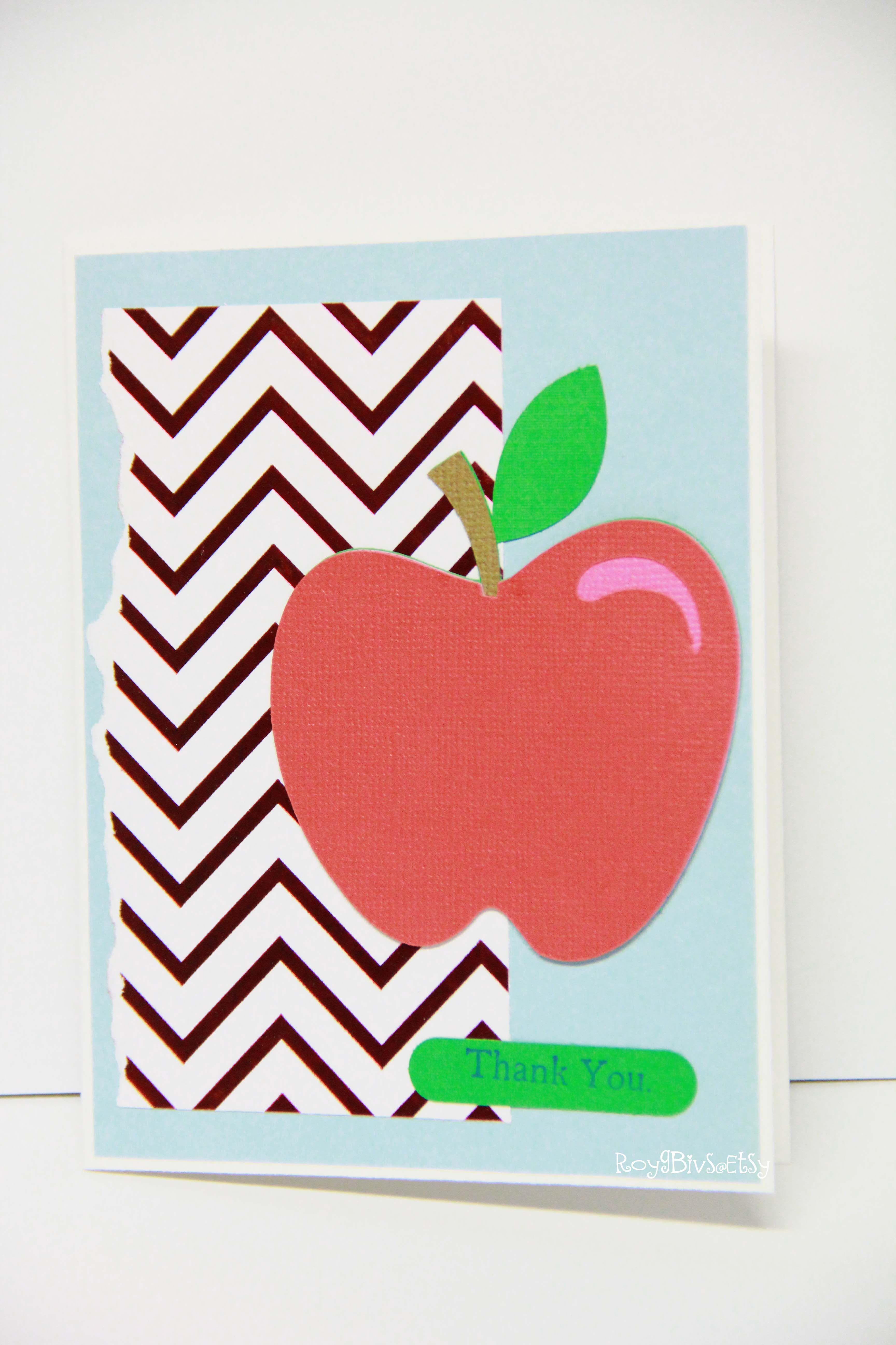Teacher Appreciation Thank You Card Apple Invitations Greetings