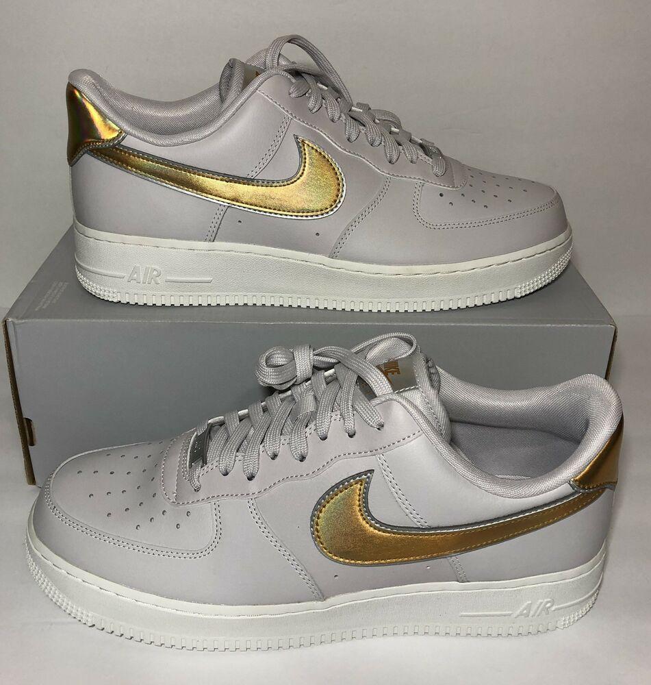 8002bfb080f30 Nike Air Force 1 Low Metallic AF1 Grey Gold Womens Size 12 AR0642 ...