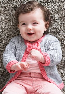 352f5a6d5 Free Knitting Pattern - Baby Sweaters  Pretty Bow Tie Baby Cardigan ...