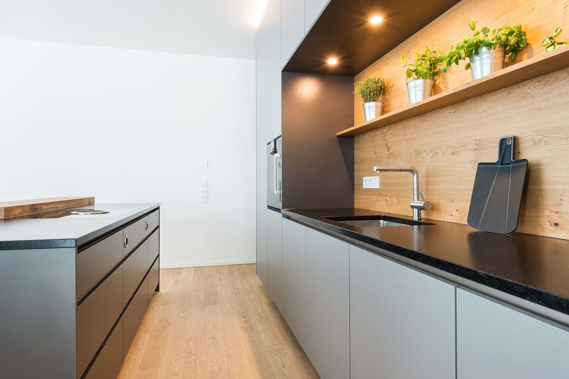 Graue Küche | Küchenrückwand | Küche rückwand holz, Graue ...