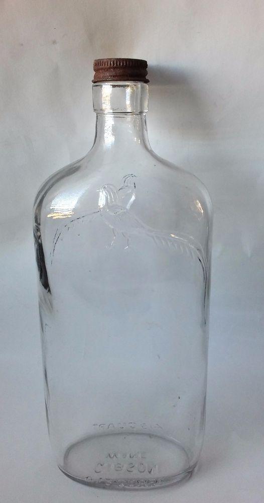 Details About Vintage Green 4 5 Quart Glass Wine Bottle Grapes Amp Leaves Embossed Design My