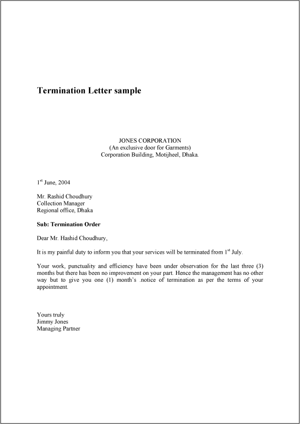 Printable Sample Termination Letter Sample Form – Termination Template Letter