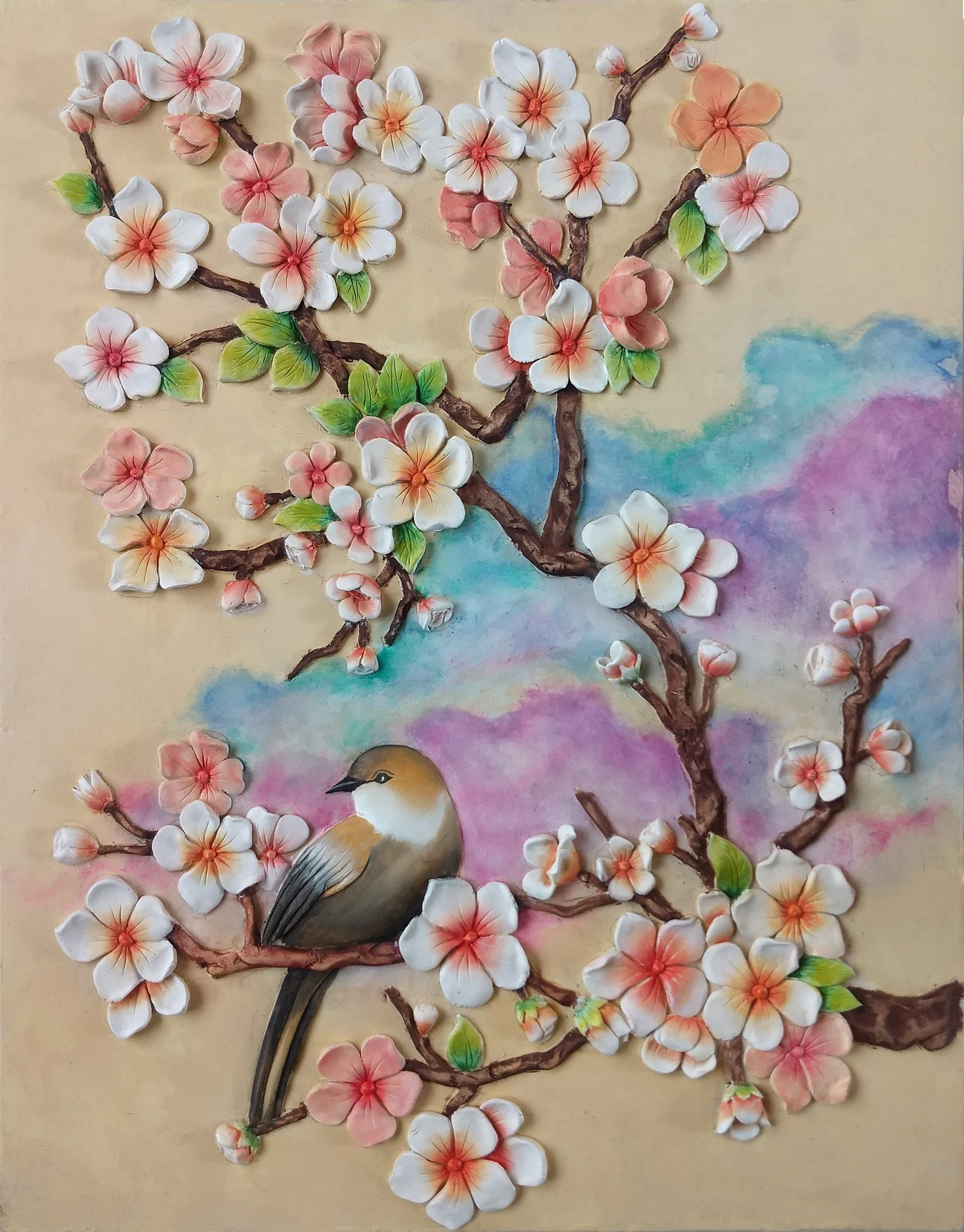 3d Clay Painting Cherry Blossom Flower Credible Art Cherry Blossom Painting Acrylic Flower Art Painting Mural Art
