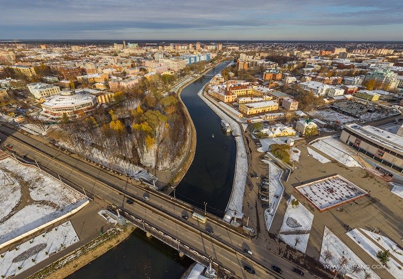 City center, Uvod River in Ivanovo, Russia. airpano.com
